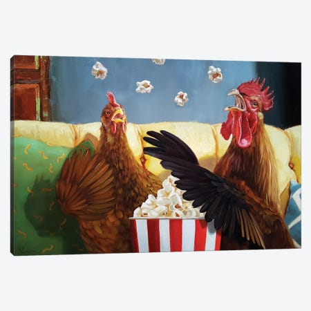 Popcorn Chickens Canvas Print #HEF106} by Lucia Heffernan Canvas Artwork