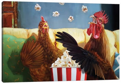 Popcorn Chickens Canvas Art Print