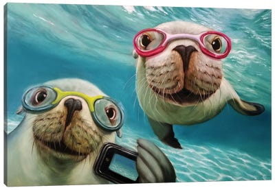 Underwater Selfie Canvas Art Print