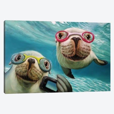 Underwater Selfie Canvas Print #HEF108} by Lucia Heffernan Art Print