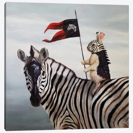 Striped Warrior Canvas Print #HEF125} by Lucia Heffernan Canvas Art
