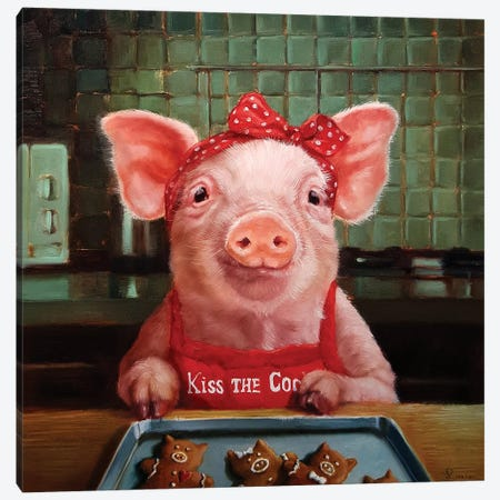 Gingerbread Pigs Canvas Print #HEF132} by Lucia Heffernan Canvas Art