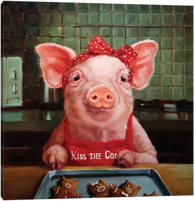 Gingerbread Pigs Canvas Art Print