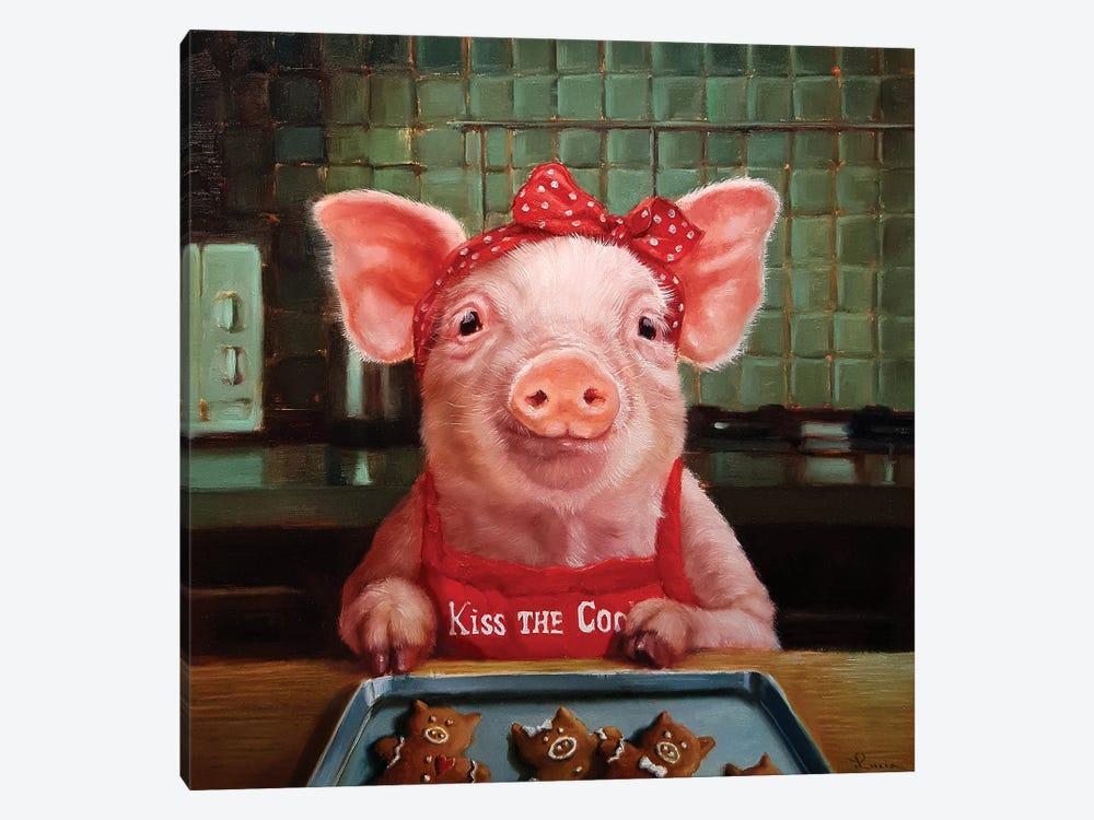 Gingerbread Pigs by Lucia Heffernan 1-piece Canvas Print