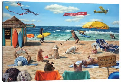 Dog Beach Canvas Art Print