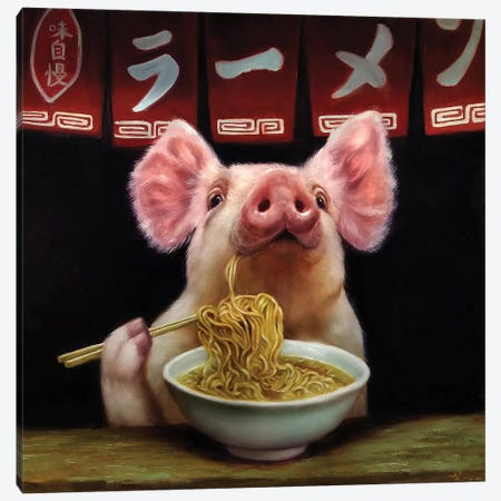 Oodles of Noodles Canvas Print #HEF147} by Lucia Heffernan Canvas Art