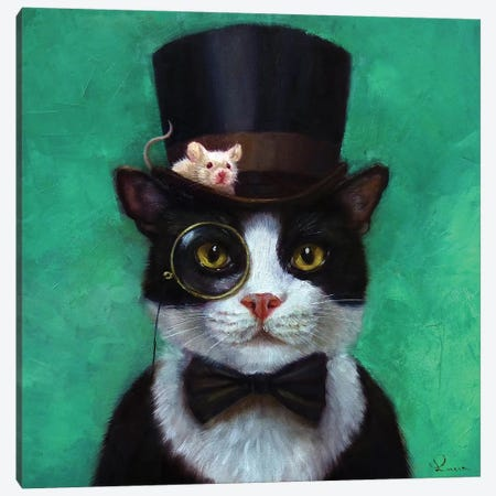 Tuxedo Cat Canvas Print #HEF14} by Lucia Heffernan Canvas Art