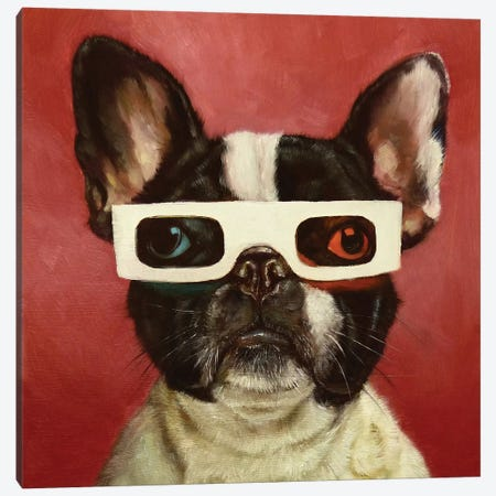 3D Dog Canvas Print #HEF1} by Lucia Heffernan Canvas Print