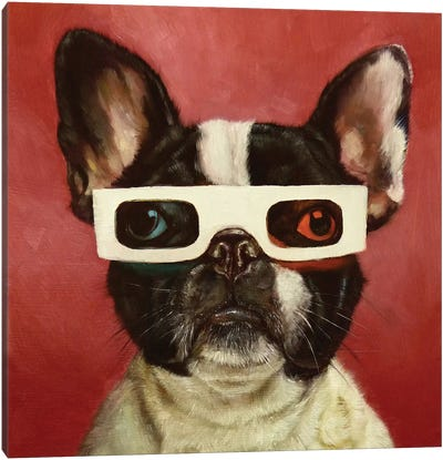 3D Dog Canvas Art Print