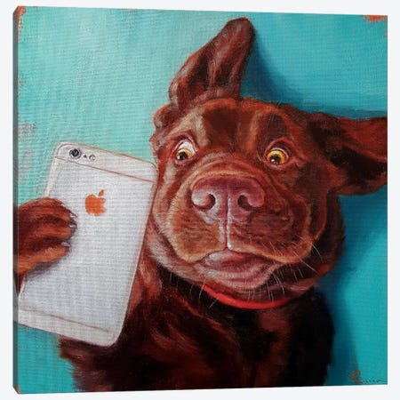 Dog Selfie Canvas Print #HEF25} by Lucia Heffernan Canvas Print