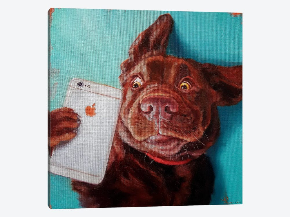 Dog Selfie 1-piece Canvas Print