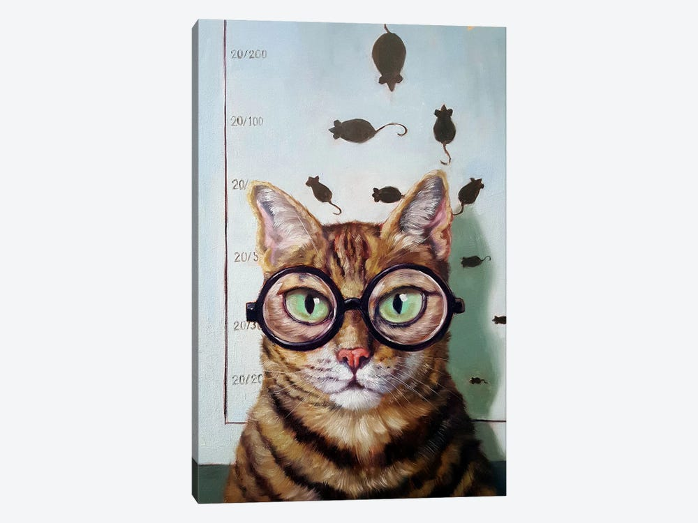 Feline Eye Exam 1-piece Canvas Print