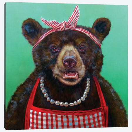Mama Bear Canvas Print #HEF31} by Lucia Heffernan Canvas Art Print