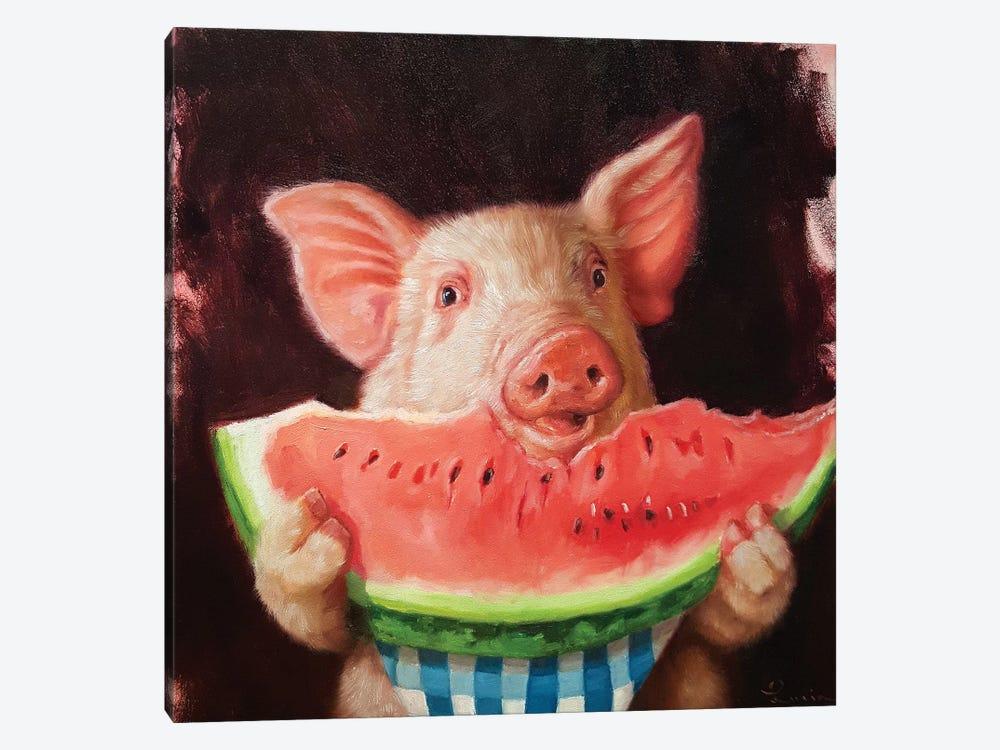 Pig Out by Lucia Heffernan 1-piece Canvas Print