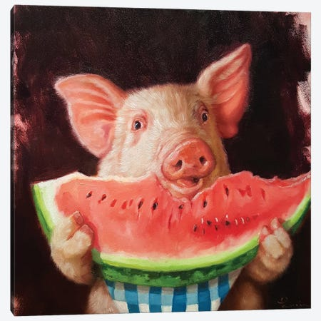 Pig Out Canvas Print #HEF34} by Lucia Heffernan Canvas Art