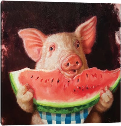 Pig Out Canvas Art Print