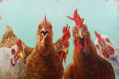 Chicken For Dinner Canvas Wall Art By Lucia Heffernan