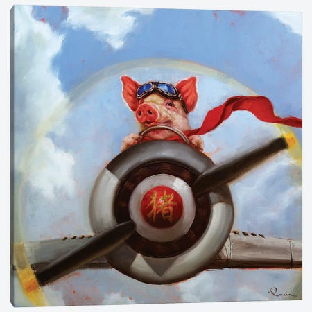 When Pigs Fly Canvas Print #HEF76} by Lucia Heffernan Canvas Artwork