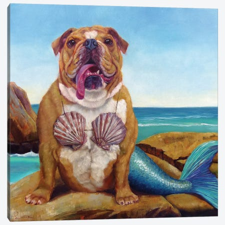 Mermaid Dog Canvas Print #HEF7} by Lucia Heffernan Canvas Art