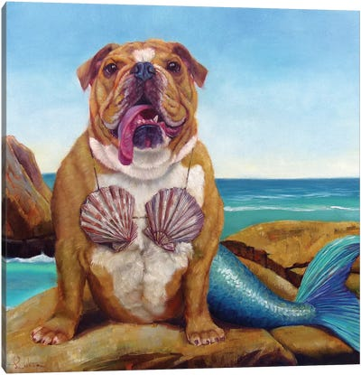Mermaid Dog Canvas Art Print