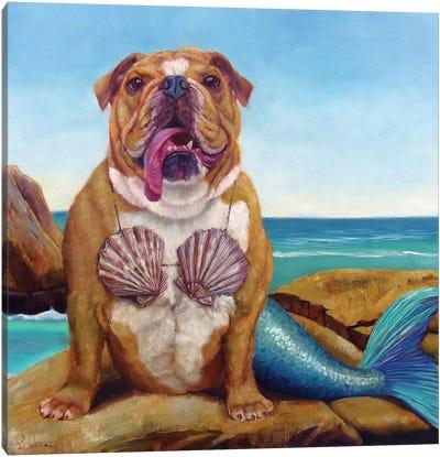 Mermaid Dog Canvas Art Print