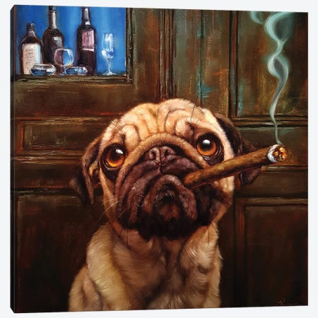 Uptown Pug Canvas Print #HEF98} by Lucia Heffernan Art Print