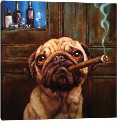 Uptown Pug Canvas Art Print