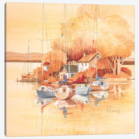 Boats I Canvas Print #HEI18} by Franz Heigl Canvas Artwork