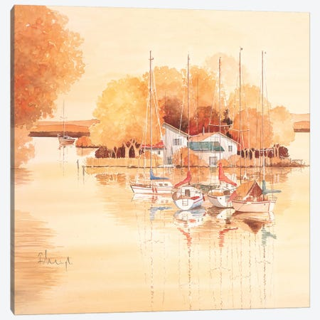 Boats II Canvas Print #HEI19} by Franz Heigl Canvas Wall Art