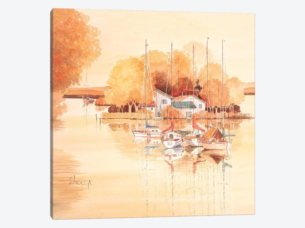 Boats II by Franz Heigl 1-piece Canvas Wall Art