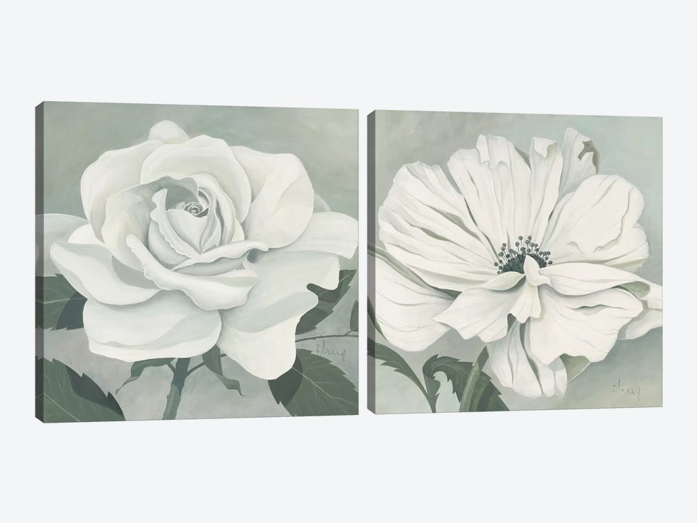 Muted Floral Diptych by Franz Heigl 2-piece Canvas Artwork
