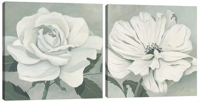 Muted Floral Diptych Canvas Art Print