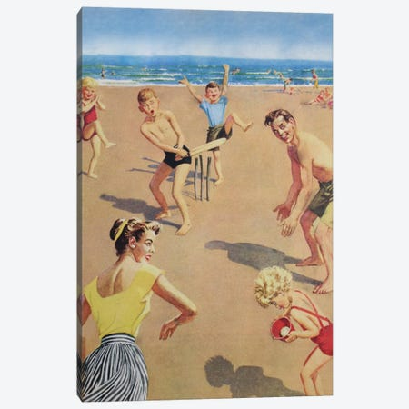 Beach Cricket Canvas Print #HEM11} by Hemingway Design Canvas Wall Art