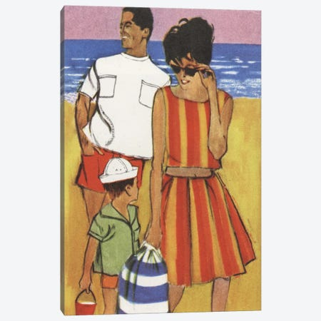 Beach Family Canvas Print #HEM12} by Hemingway Design Canvas Wall Art