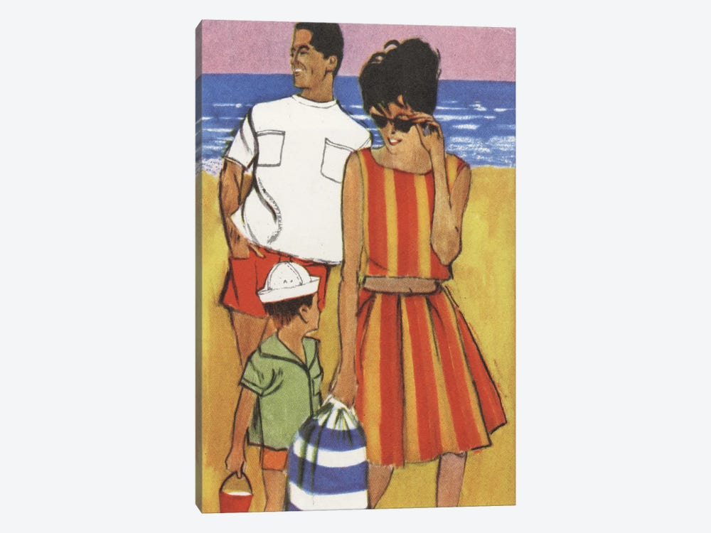 Beach Family 1-piece Canvas Artwork