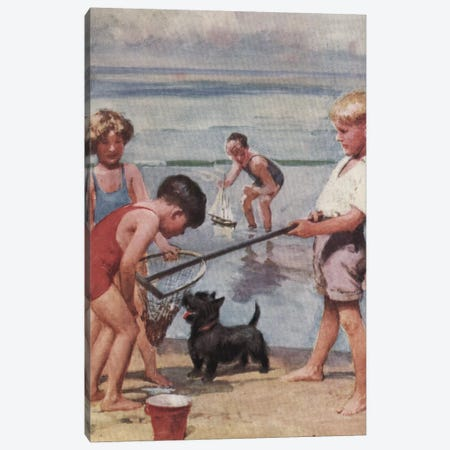 Beach Fishing Canvas Print #HEM13} by Hemingway Design Canvas Art