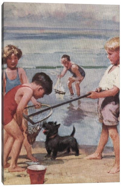 Beach Fishing Canvas Art Print
