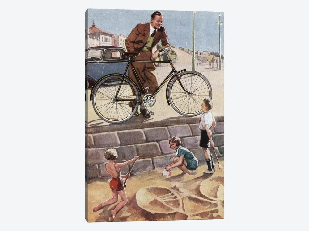 Cycling In The Sand by Hemingway Design 1-piece Canvas Print