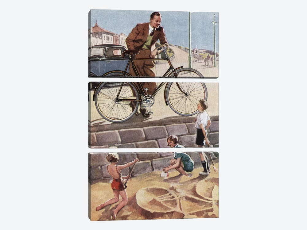 Cycling In The Sand by Hemingway Design 3-piece Art Print