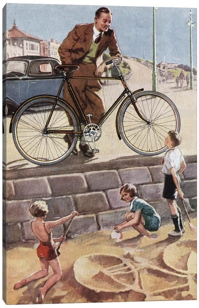 Cycling In The Sand Canvas Art Print
