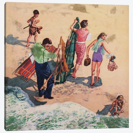 Family At The Seaside Canvas Print #HEM28} by Hemingway Design Canvas Print