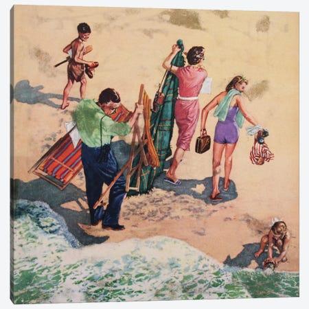 Family At The Seaside Canvas Print #HEM28} by Hemingway Design Canvas Print