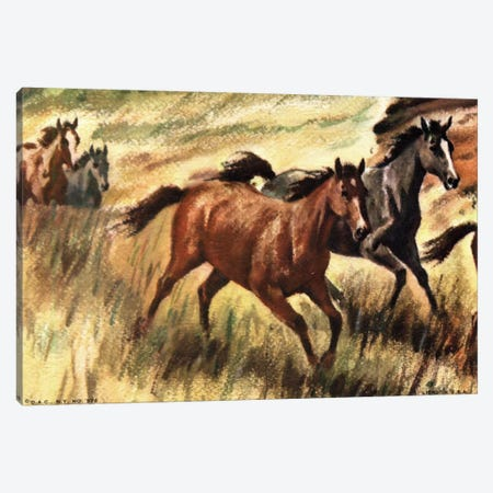 Gee-Gees Go Galloping Canvas Print #HEM34} by Hemingway Design Canvas Print
