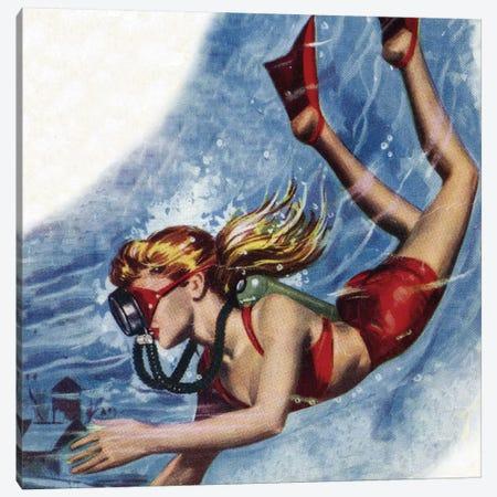 Girl Snokerling Canvas Print #HEM35} by Hemingway Design Canvas Print