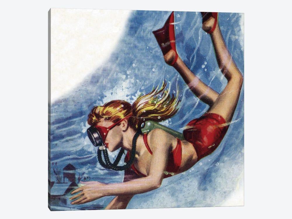 Girl Snokerling by Hemingway Design 1-piece Canvas Art Print