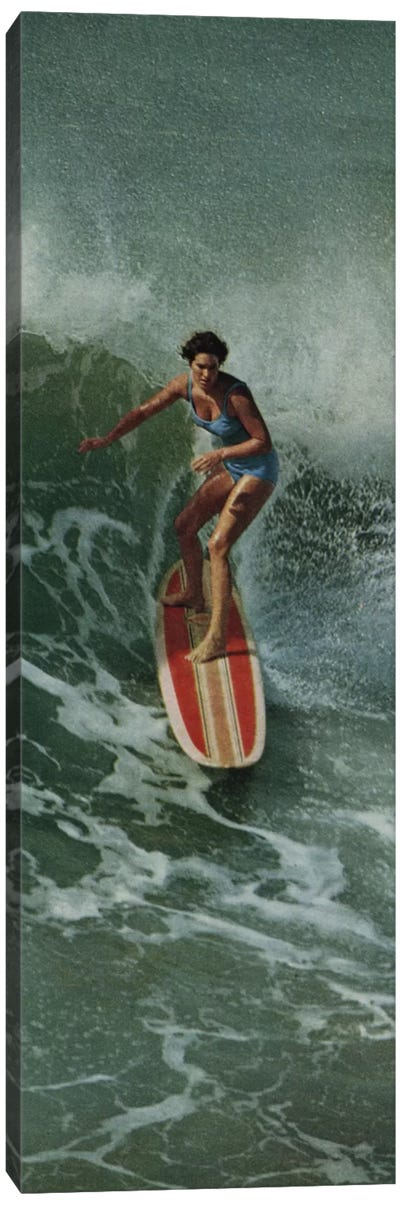 Girl Surfing Canvas Art Print