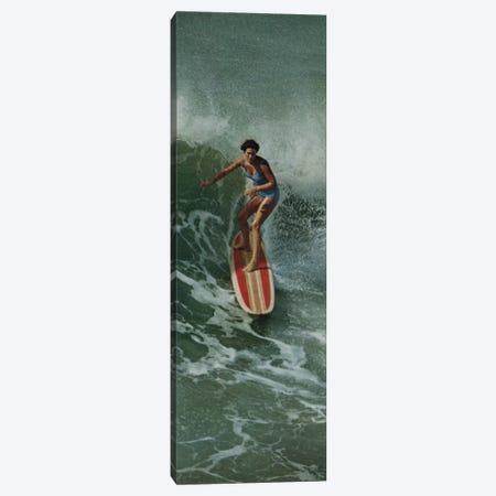 Girl Surfing Canvas Print #HEM36} by Hemingway Design Canvas Art Print