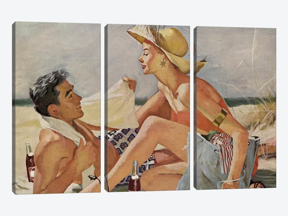 Glamourous Beach Couple by Hemingway Design 3-piece Art Print