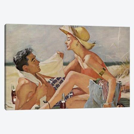 Glamourous Beach Couple Canvas Print #HEM37} by Hemingway Design Canvas Art Print