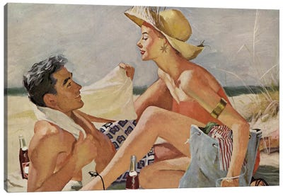Glamourous Beach Couple Canvas Art Print